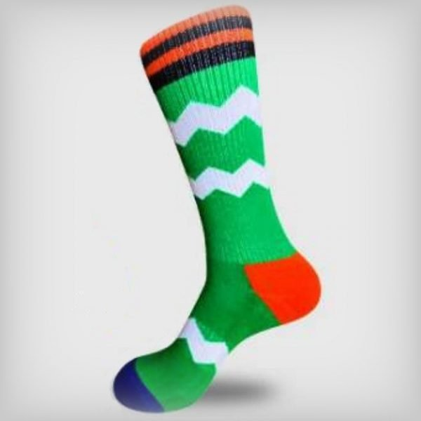 Green And White Socks