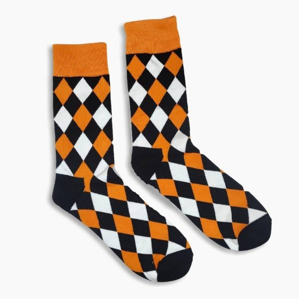 Black and orange pattern socks