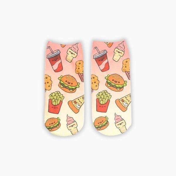 Burger, chips ankle socks