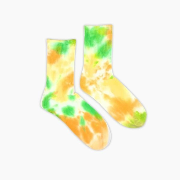 Yellow And Green Tie Dye Socks