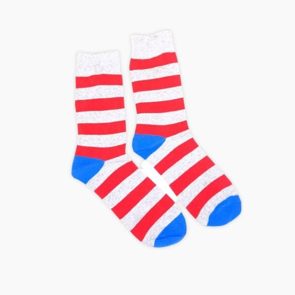 Red And Grey Stripe Socks