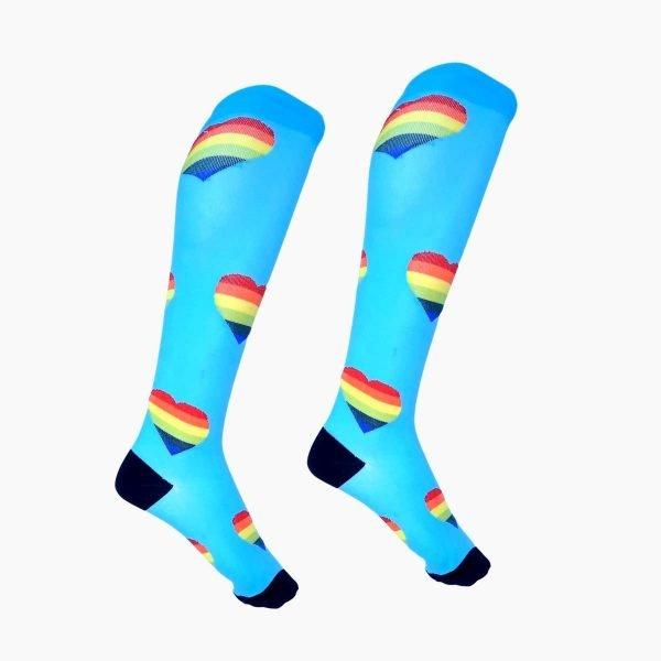 Rainbow Heart Compression Socks
