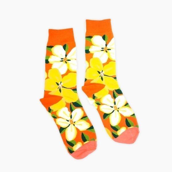 Orange Flower Socks